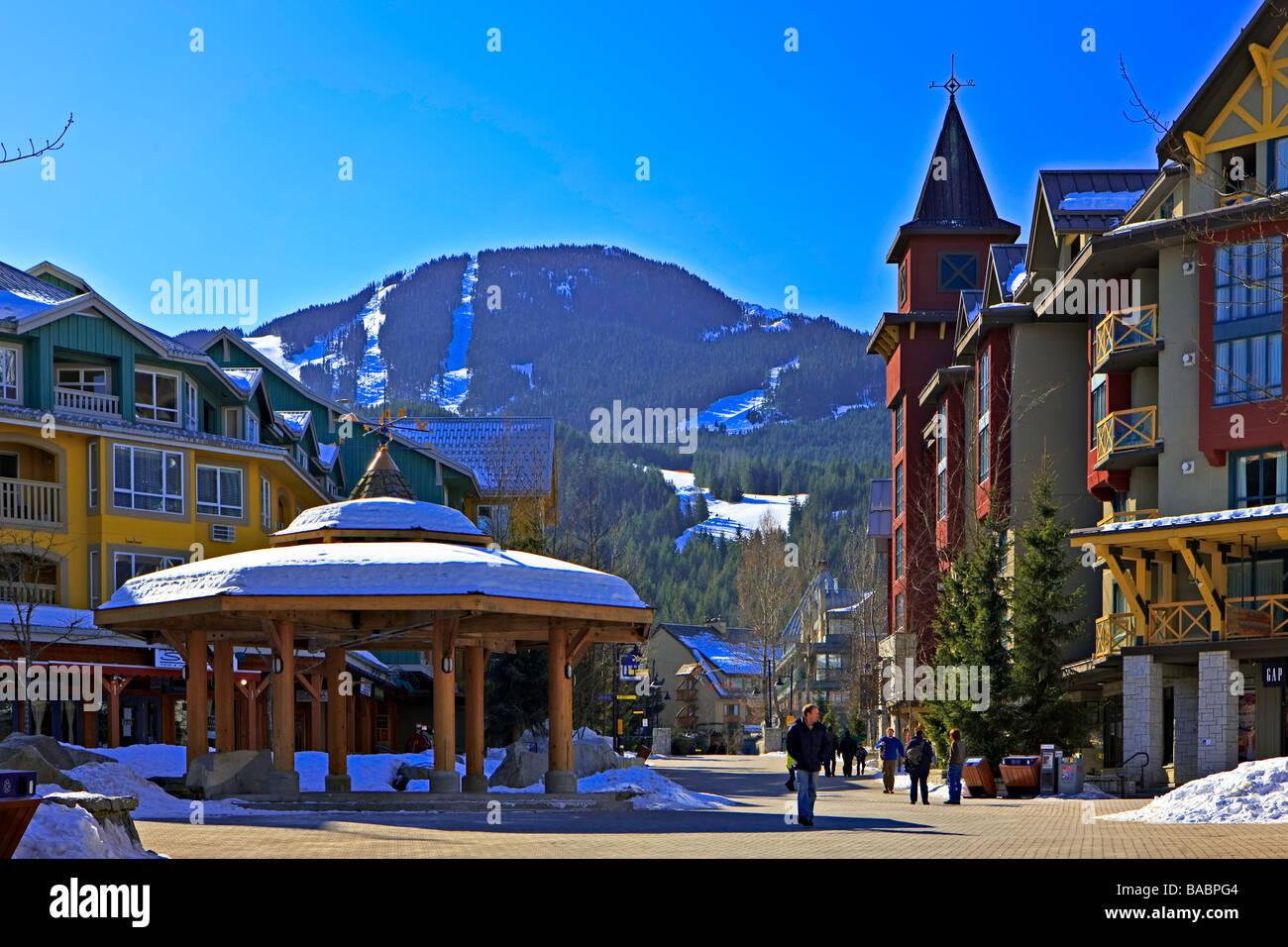 Gazebo in the Town Plaza,Whistler Village,Canada. - Stock Image