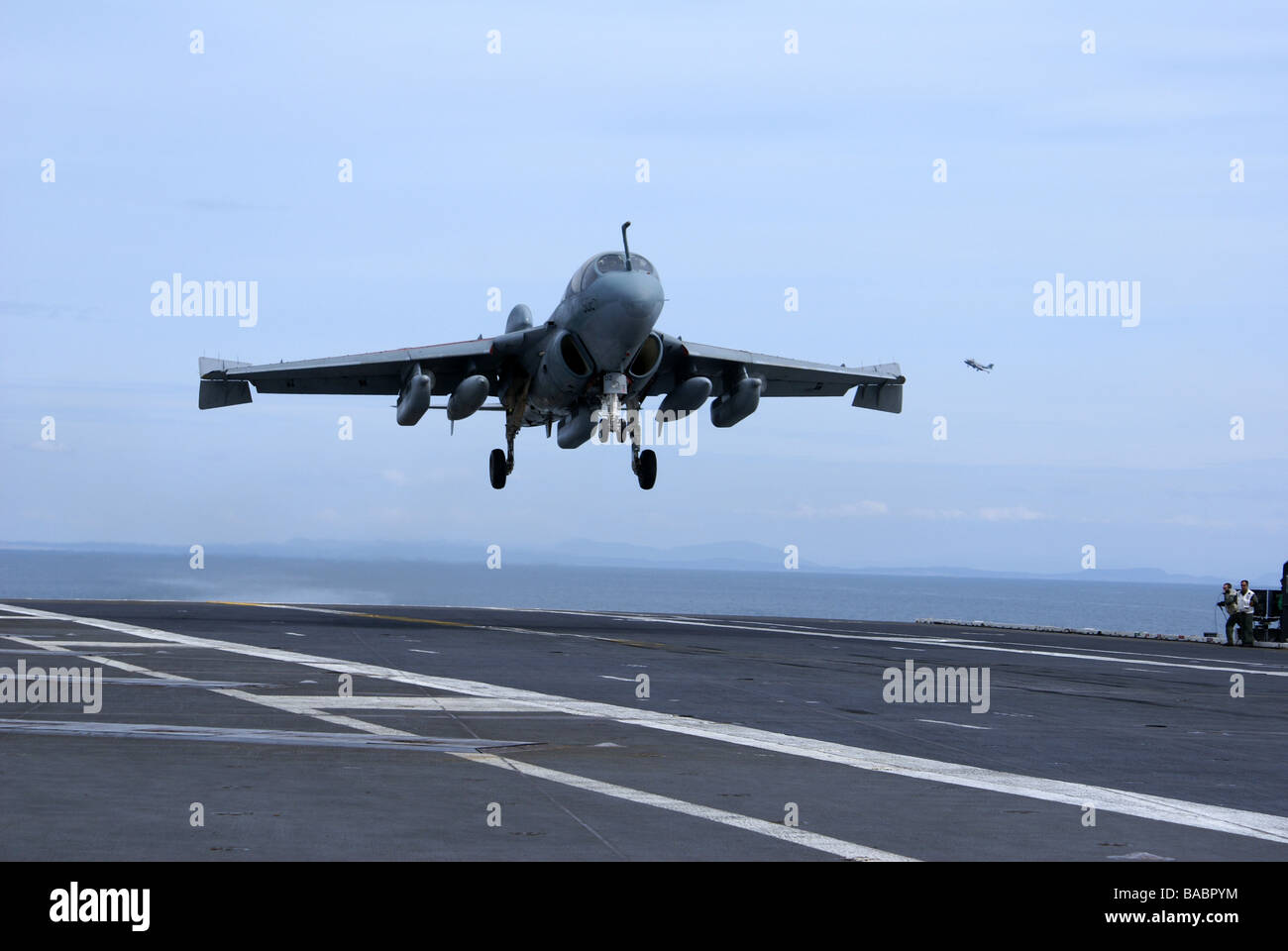 EA6B Prowler practicing touch and go landings on USS Abraham Lincoln (CVN 72) out of homebase Everett, Washington - Stock Image