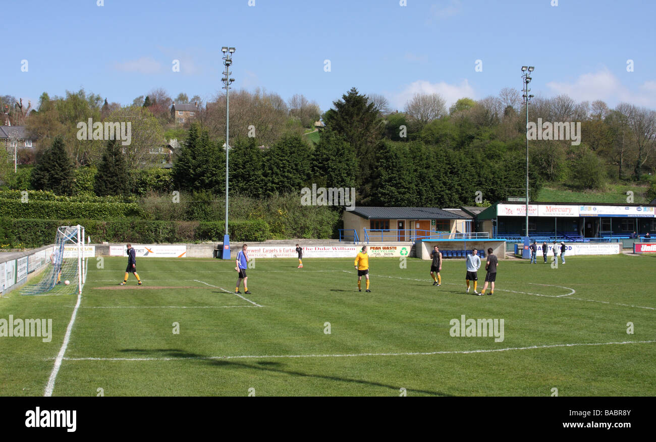 Football training at Matlock Town football ground Matlock, Derbyshire, England, U.K. - Stock Image