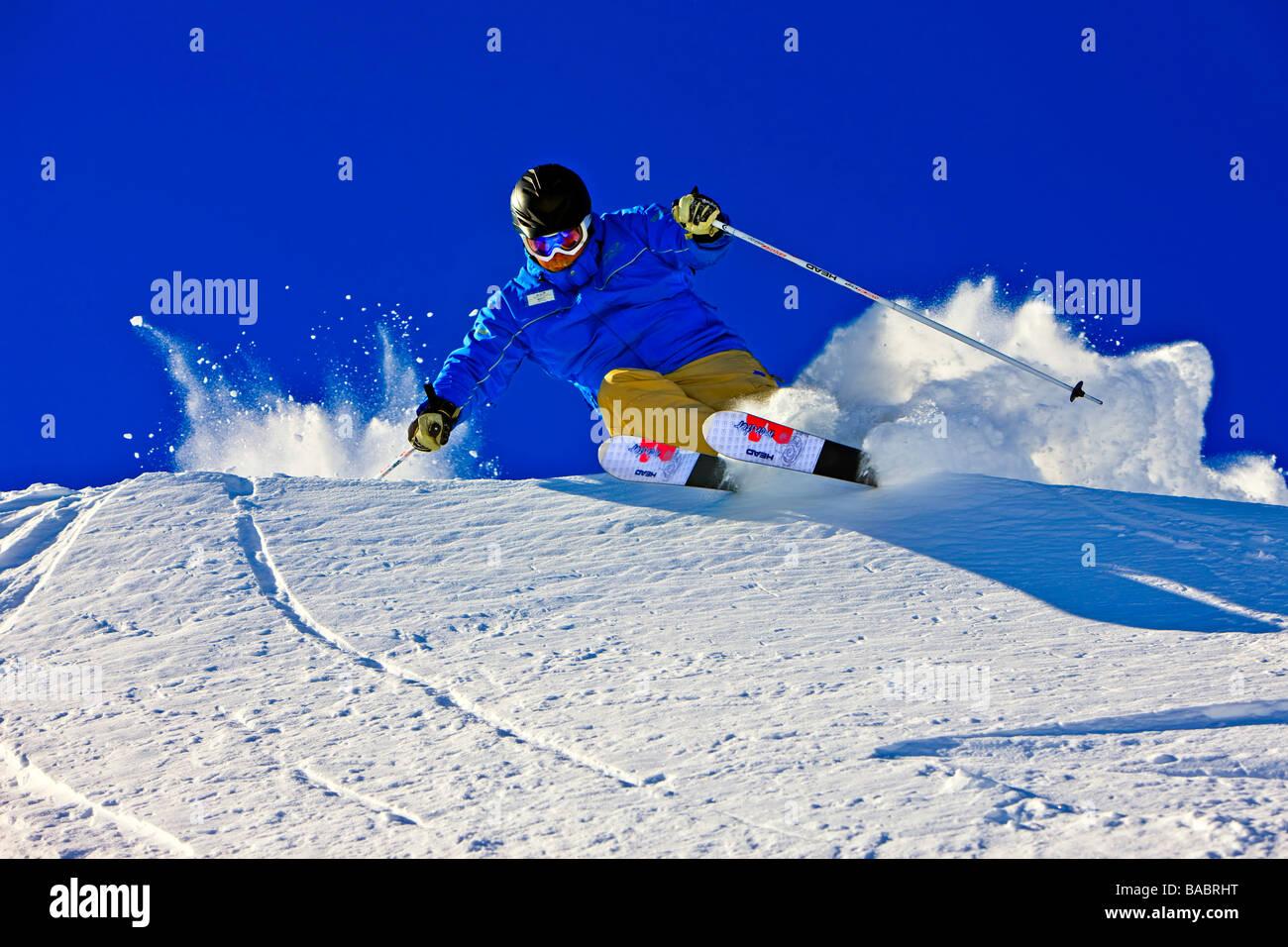 Skier on the upper slopes of Whistler Mountain Whistler Blackcomb Whistler British Columbia Canada - Stock Image