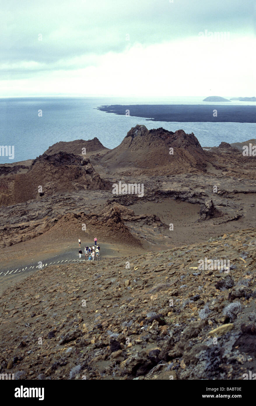 Galapagos Islands. Bartholomew Is. Volcanic splatter cones on the lower slopes of the island. - Stock Image