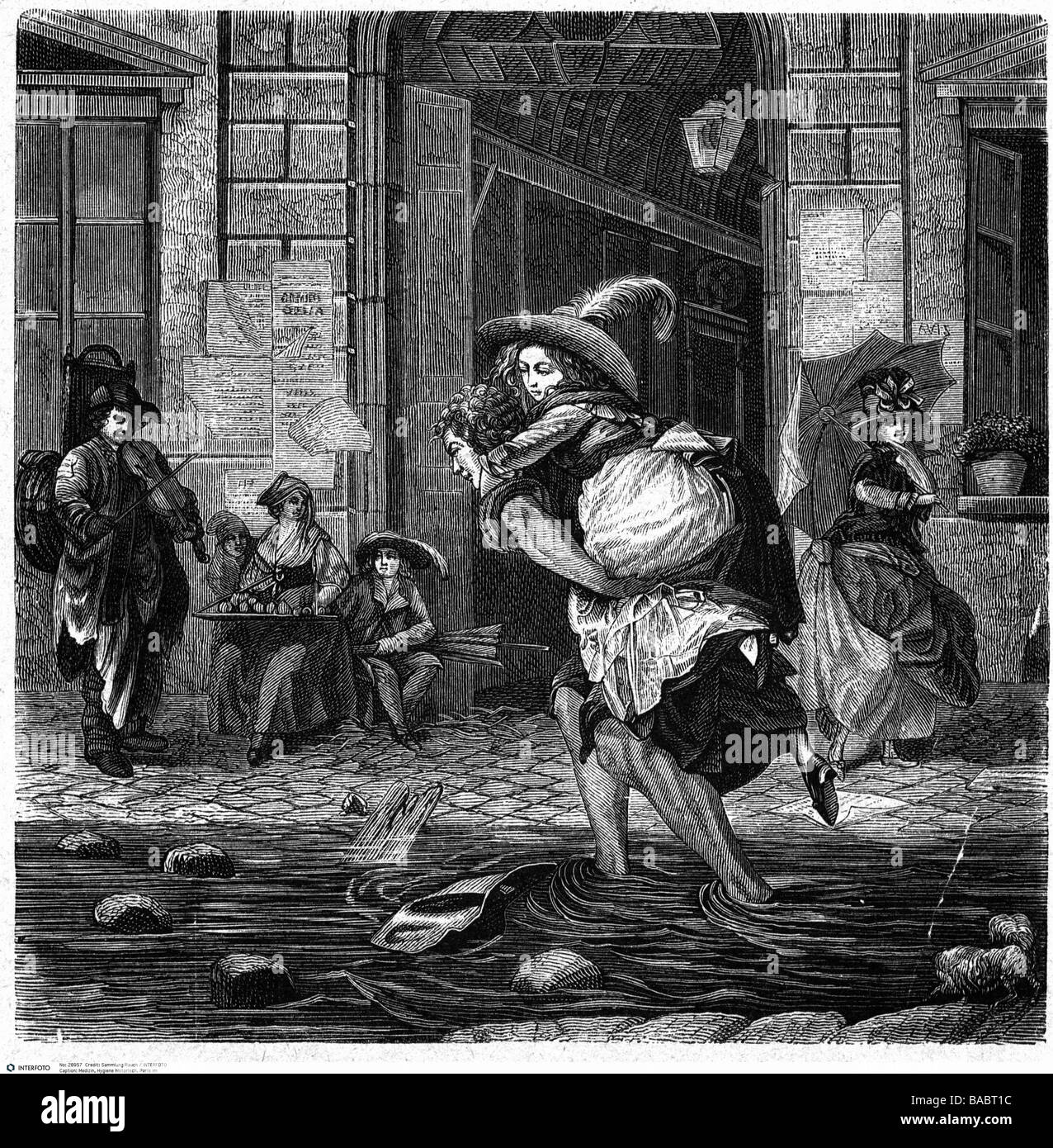 medicine, hygienics, dirt, flooded streets in Paris during rain, 18th century, man carring woman across the street, - Stock Image