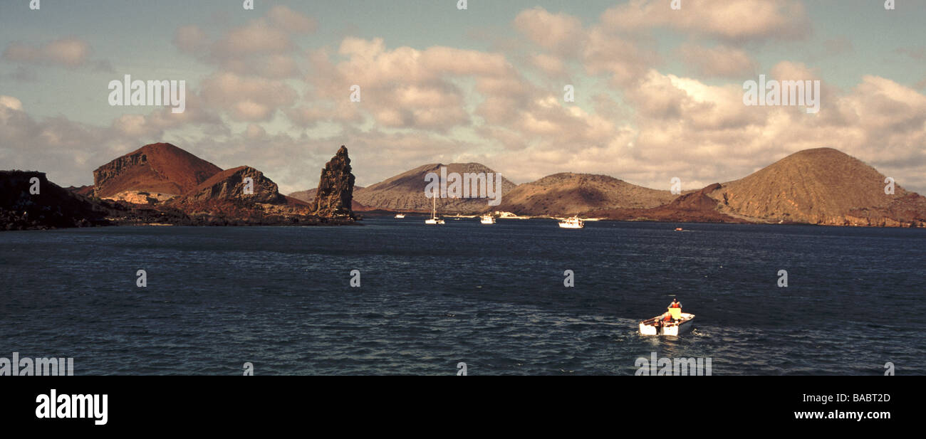 Galapagos Islands.Bartholomew Island.View from the sea with Pinnacle Rock and with James Island on the right and - Stock Image
