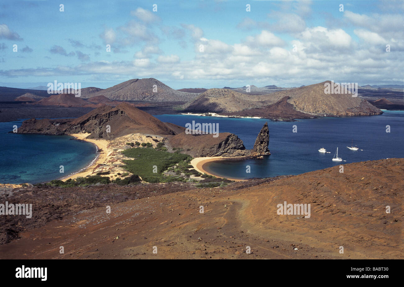 Galapagos Islands.Bartholomew Island.View from top of the island towards James Island. - Stock Image