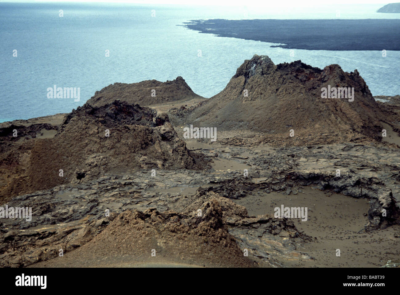 Galapagos Islands. Splatter cones on Bartholomew Island. Bartholomew is estimated to be 1 million years old. - Stock Image