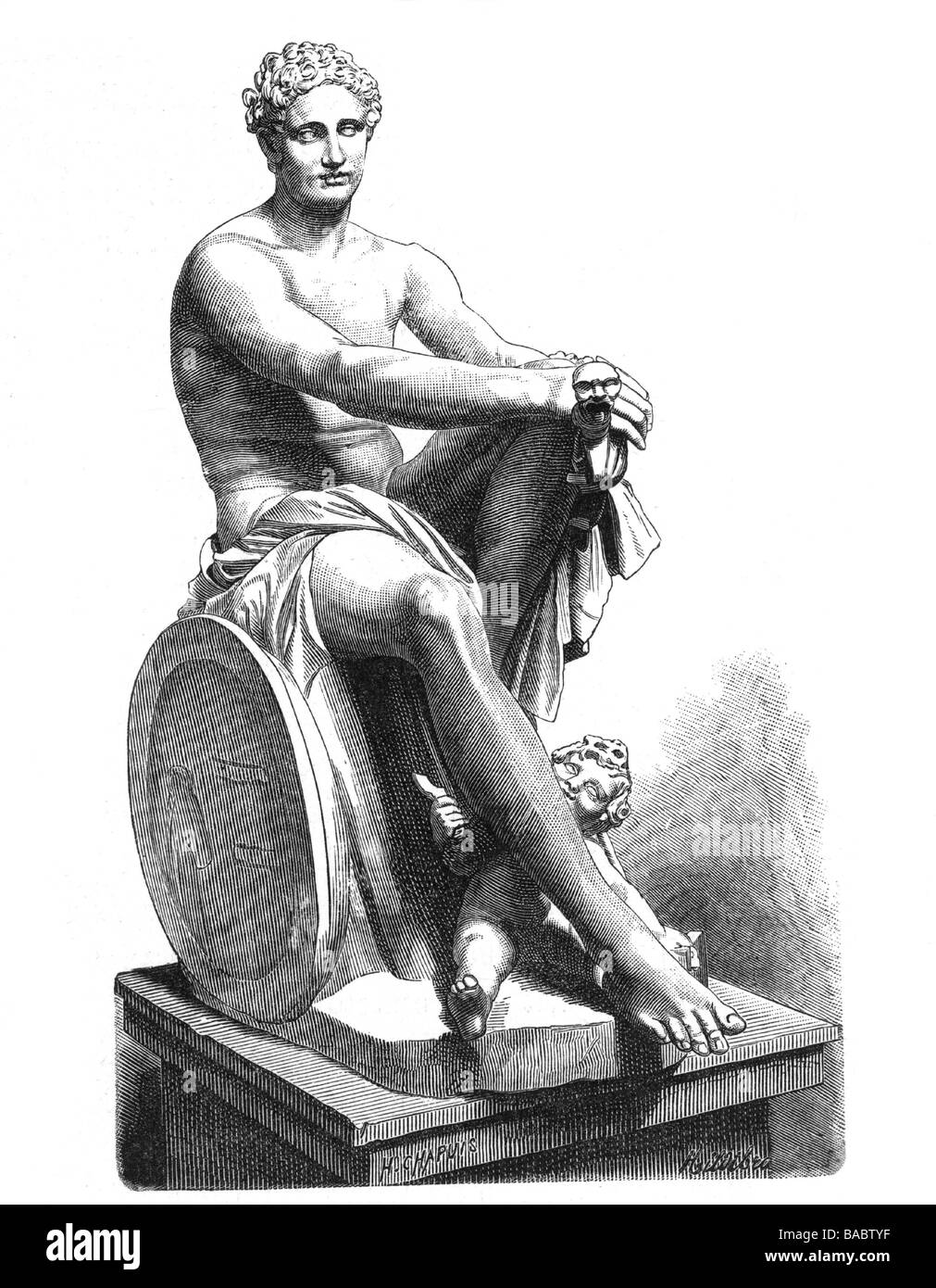 Ares, Greek god of warfare, full length, wood engraving after statue, Villa Ludovisi, Additional-Rights-Clearances - Stock Image