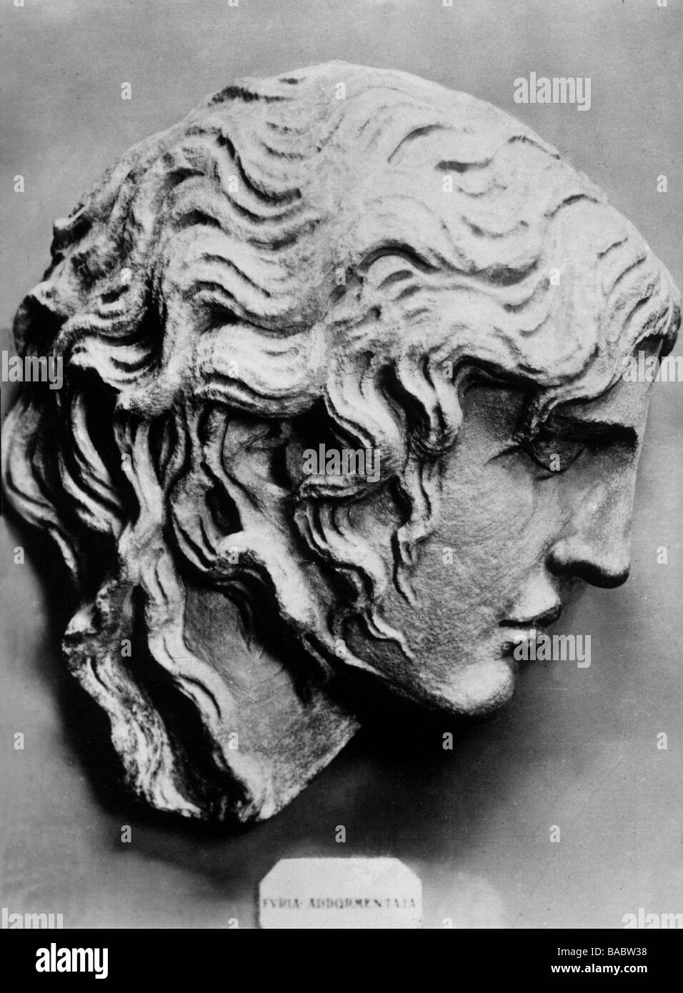 Medusa, Greek myth figure, on of three Gorgoeion, portrait, side view, sculpture, National Museum, Rome, circa 1900, - Stock Image