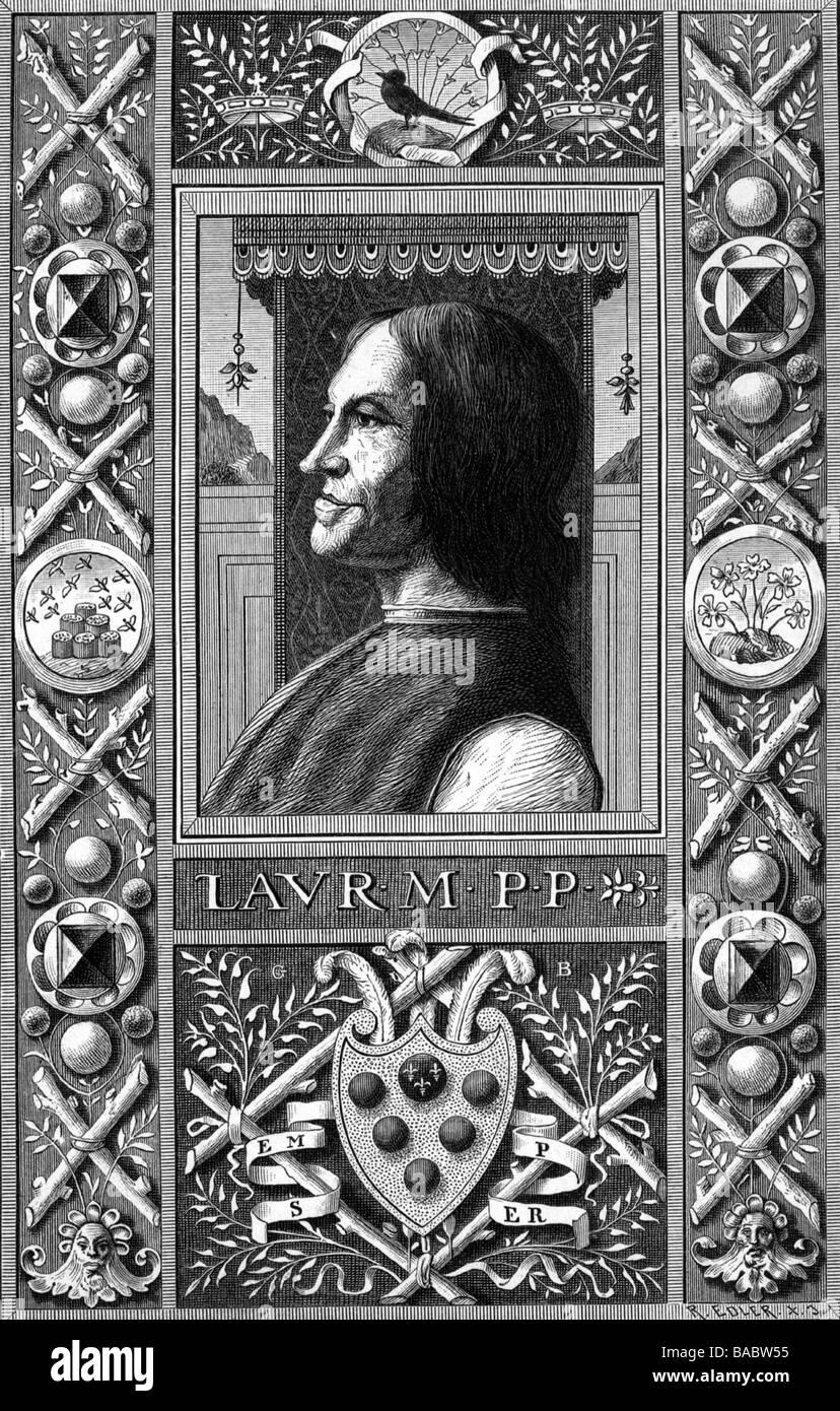 "Medici, Lorenzo I. ""der Prächtige"", 1.1.1449 - 8.4.1492, mayor of Florence from 1469, portrait, side view, wood Stock Photo"