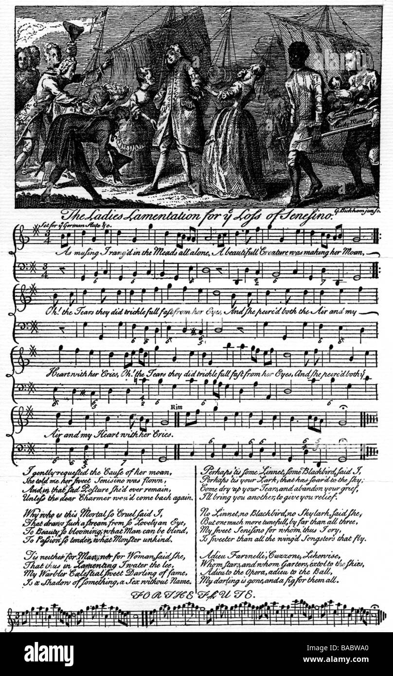 Senesino, circa 1690 - 27.1.1759, Italian musician (singer), 'accusation of the admirers', engraving by - Stock Image