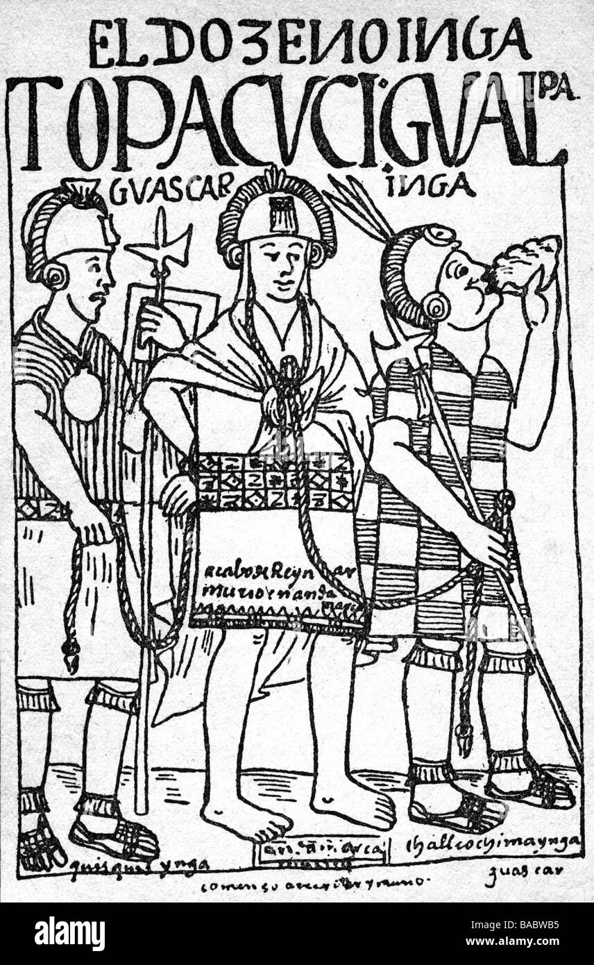 Huascar, December 1533, Sapa Inca of the Inca empire from 1527 - 1532, arrest 1532, engraving to 'Nueva coronica - Stock Image