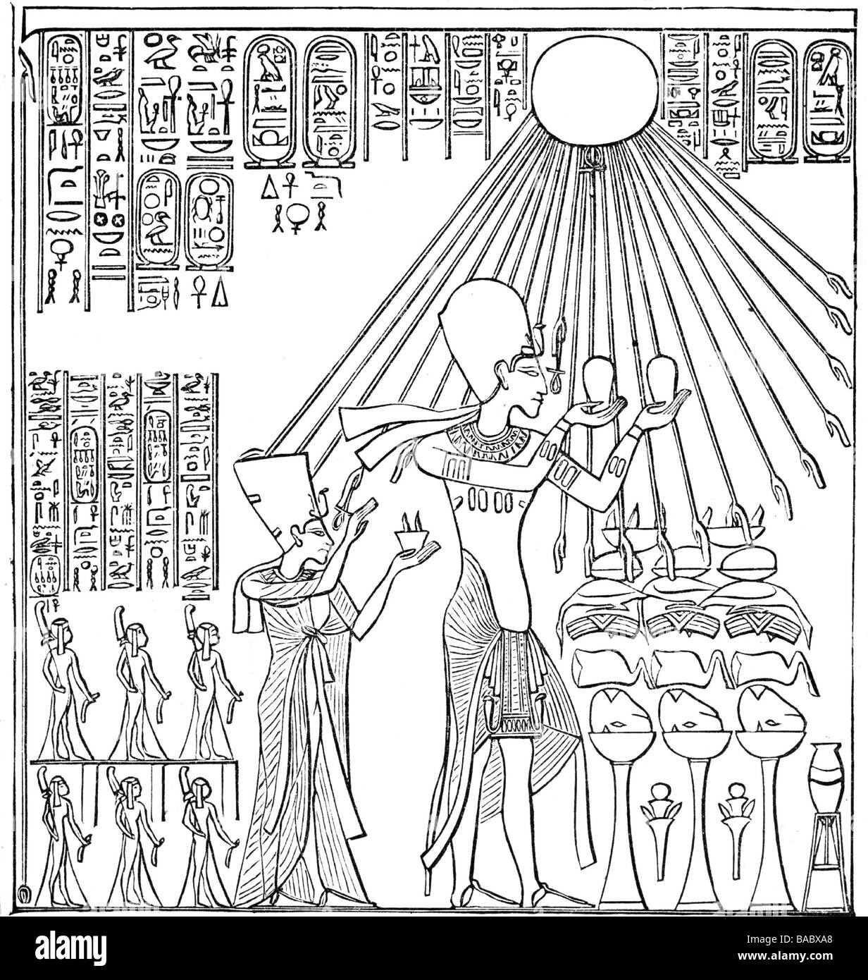Akhenaten (Amenhotep IV), King of Egypt 1353 - 1336 BC, 18th Dynasty, full length, sacrificing to god Aton, behind - Stock Image