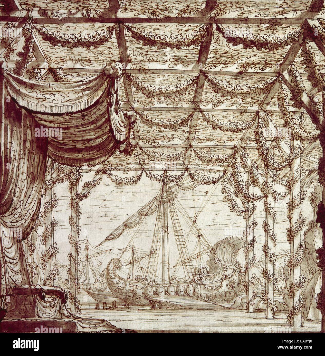 Theatre Stage Design Decoration By Giuseppe Galli Bibiena
