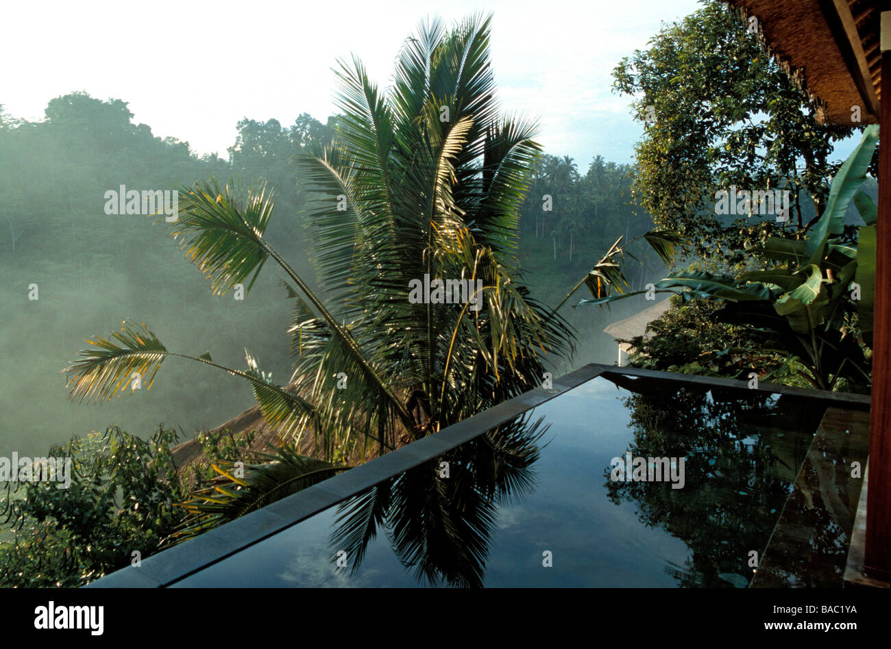 Indonesia, Bali, the private swimming pool of a Panoramic View Pool Villa Suite at the Ubud Hanging Gardens Resort, - Stock Image