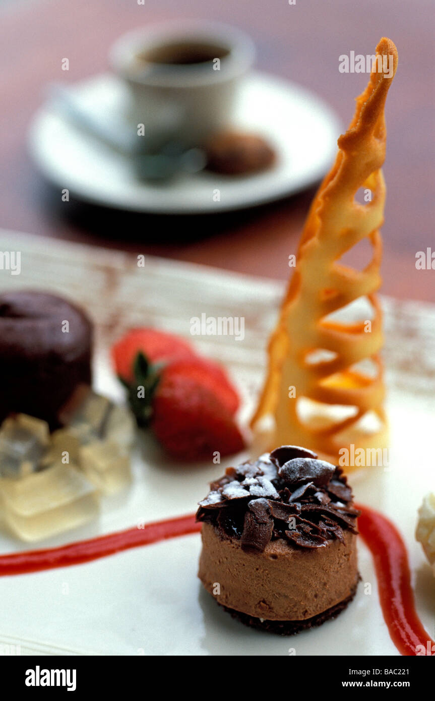 Indonesia, Bali, chocolate mousse dessert plate as served at the Ubud Hanging Gardens Resort, member of the Orient - Stock Image