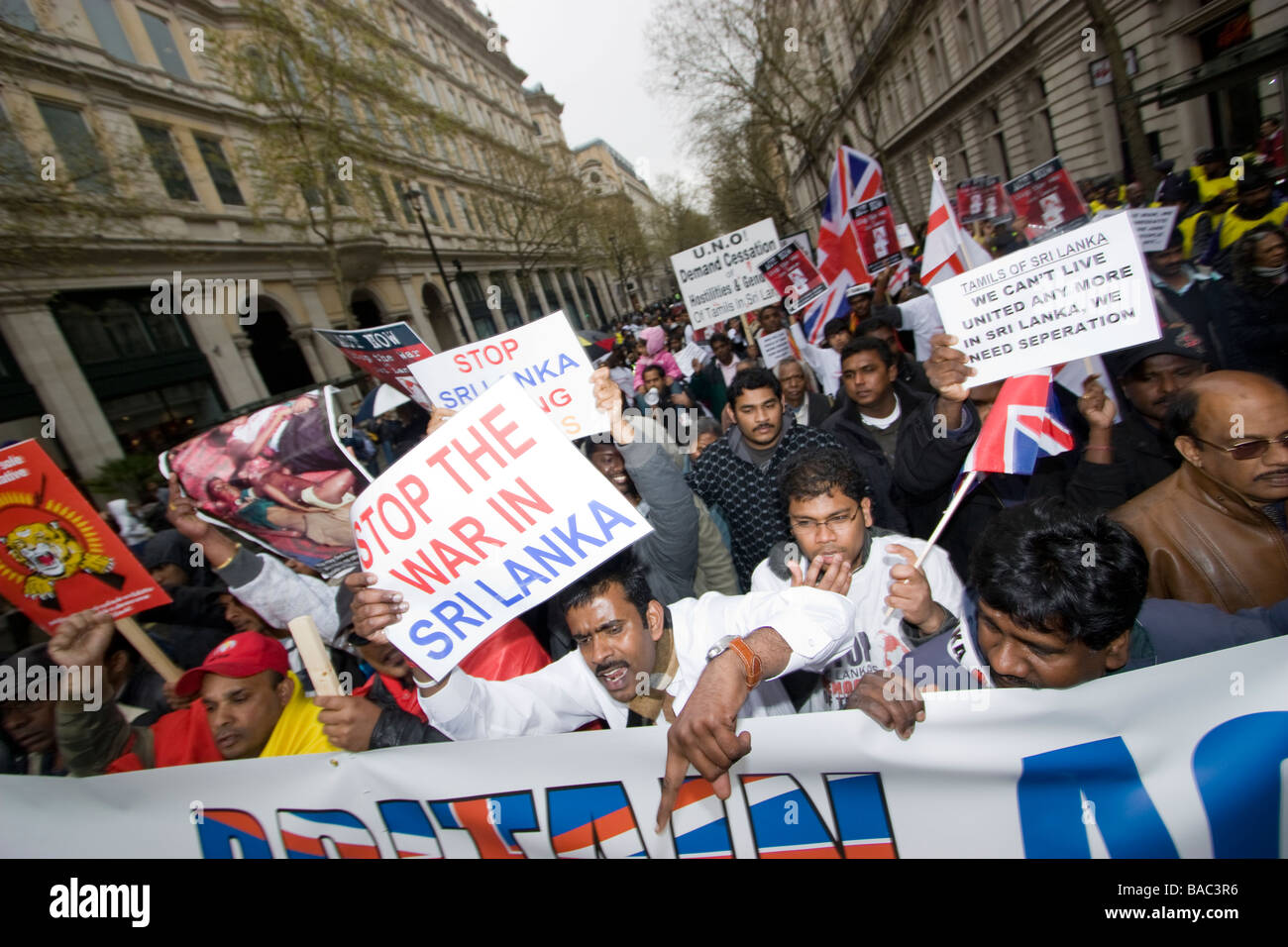 tamil tigers protest tamils march against the genocide war in Sri Lanka - Stock Image