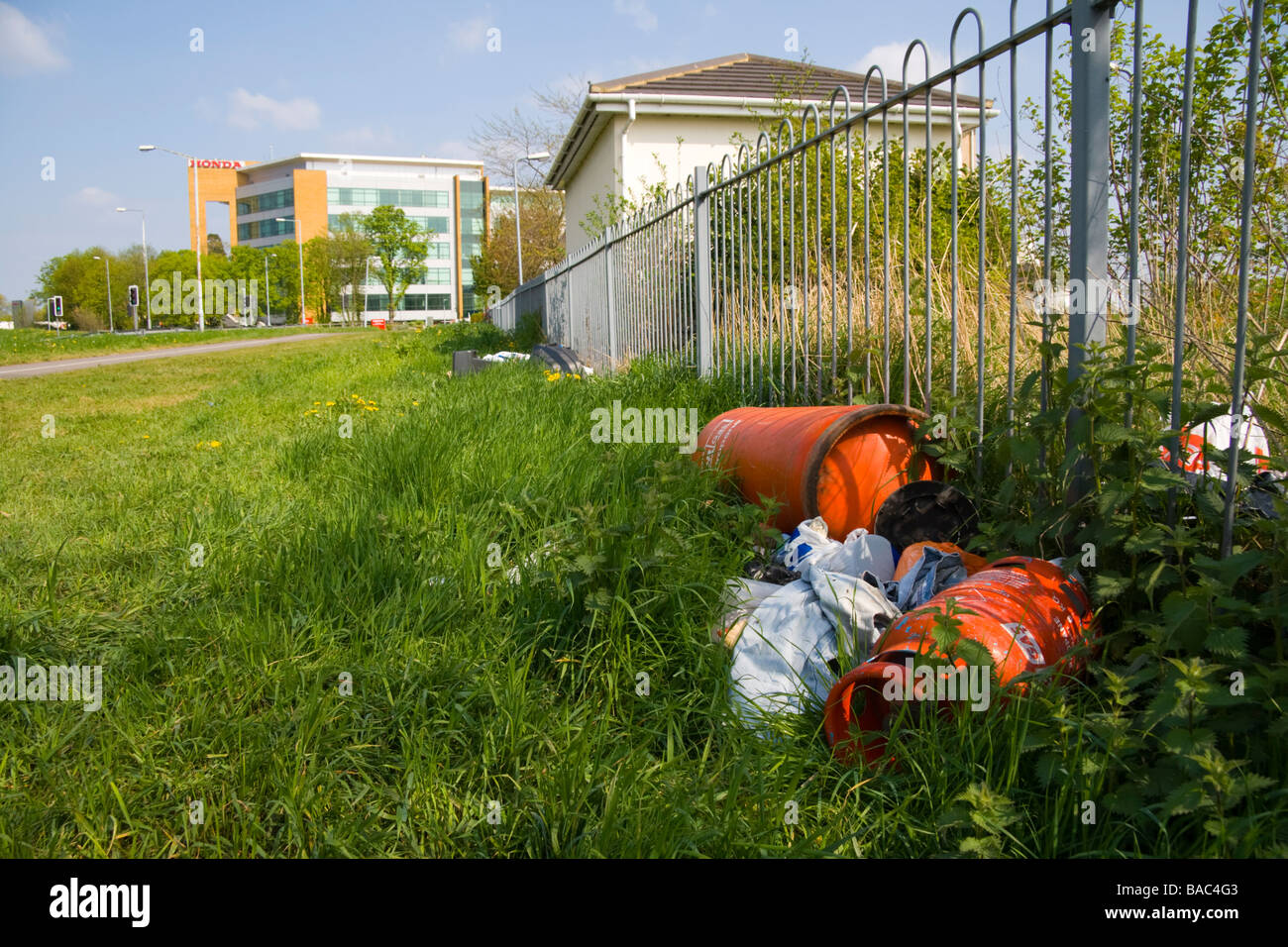 Rubbish and junk left by the side of a road in Berkshire UK - Stock Image