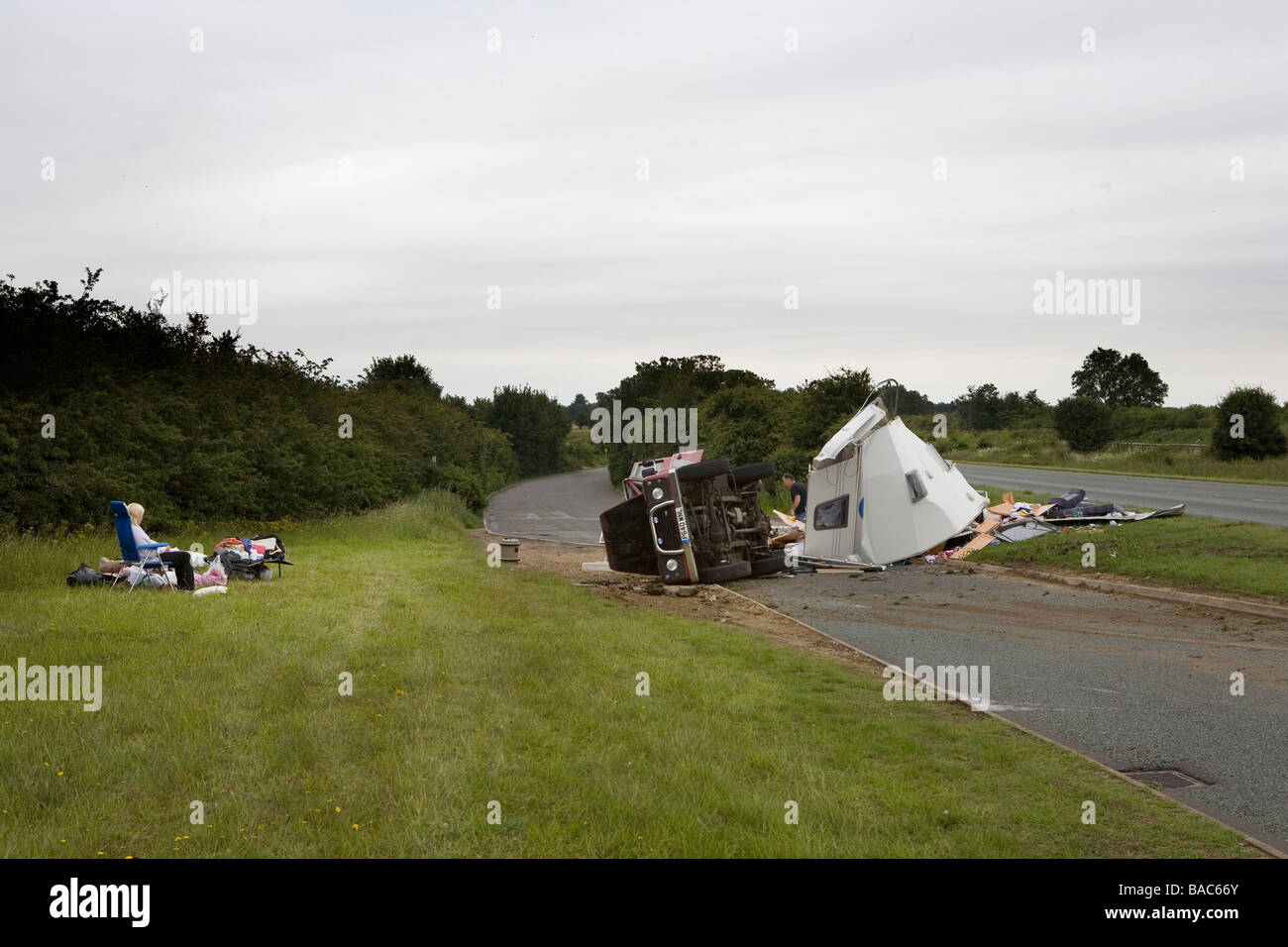 Caravan accident on the A1 trunk road Cambridgshire England UK Stock Photo