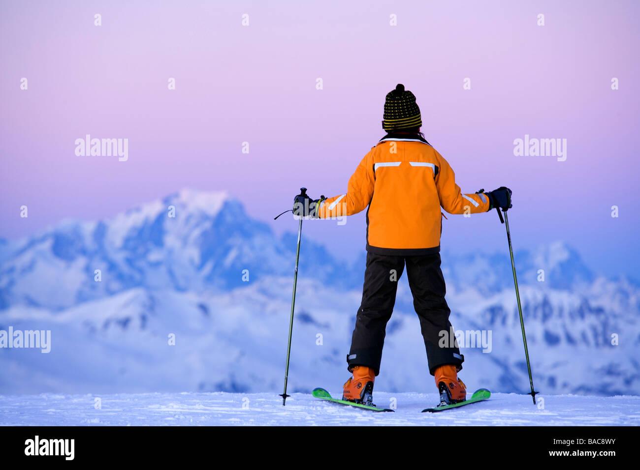 France, Savoie, Meribel, Les Menuires, the Mont Blanc from the Tougnete summit (Alt : 2434 m) - Stock Image