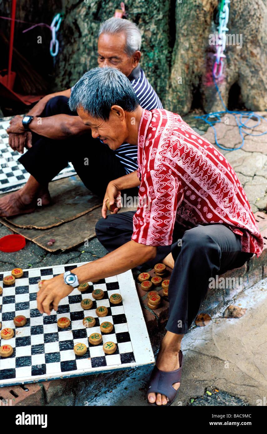 Malaysia, Malacca State, Malacca, game of draughts - Stock Image