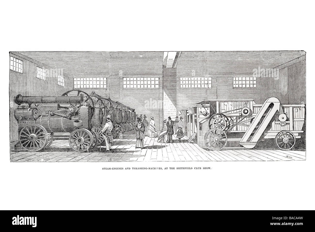 steam engines and thrashing machines at the smithfield club show 1854 - Stock Image