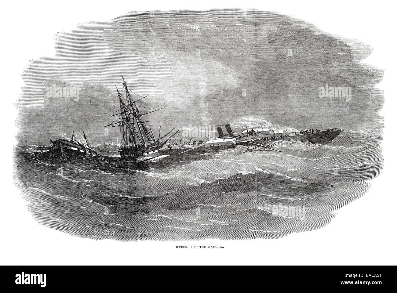 wrecks off the katscha 1854 - Stock Image