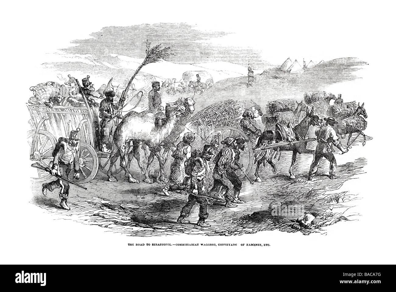road to sebastopol commissariat waggons conveyanc of fascines 1854 - Stock Image