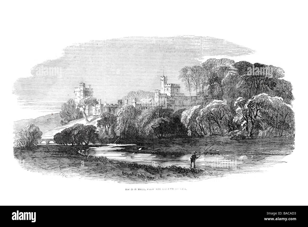 haldon hall 1854 river fishing castle fort Exe Estuary Lawrence Castle Lawrence Castle prominent position hills - Stock Image