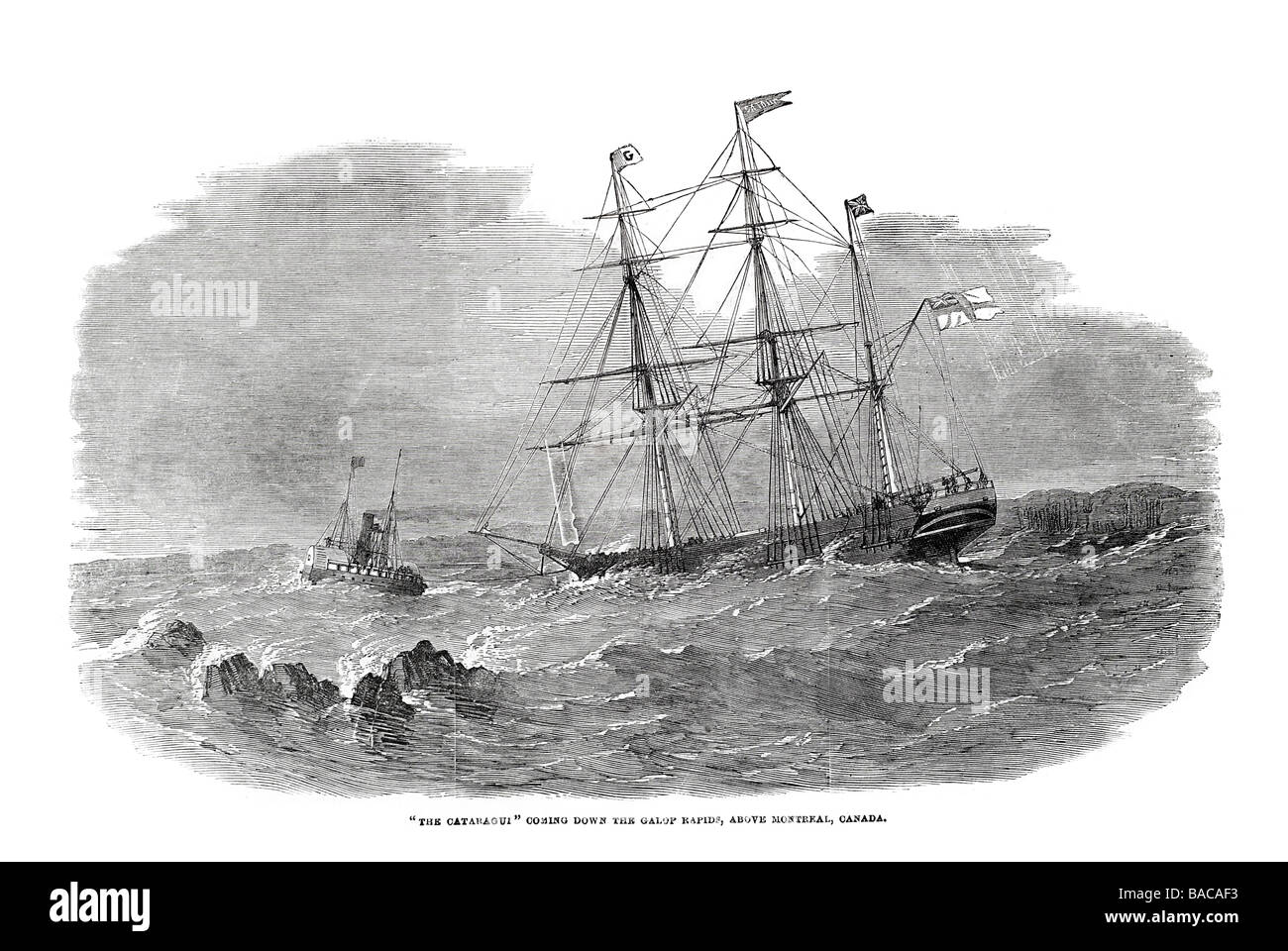 cataragui coming down the galop rapids above montreal canada 1854 - Stock Image