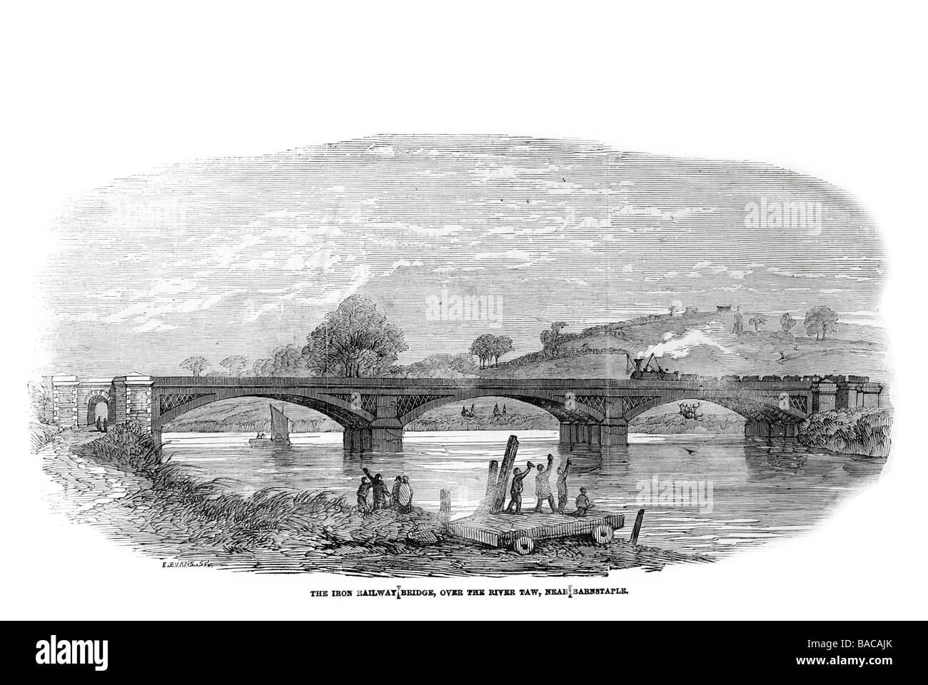 Iron Railway Bridge Over The River Taw Near Barnstaple Railway Stock Photo Alamy