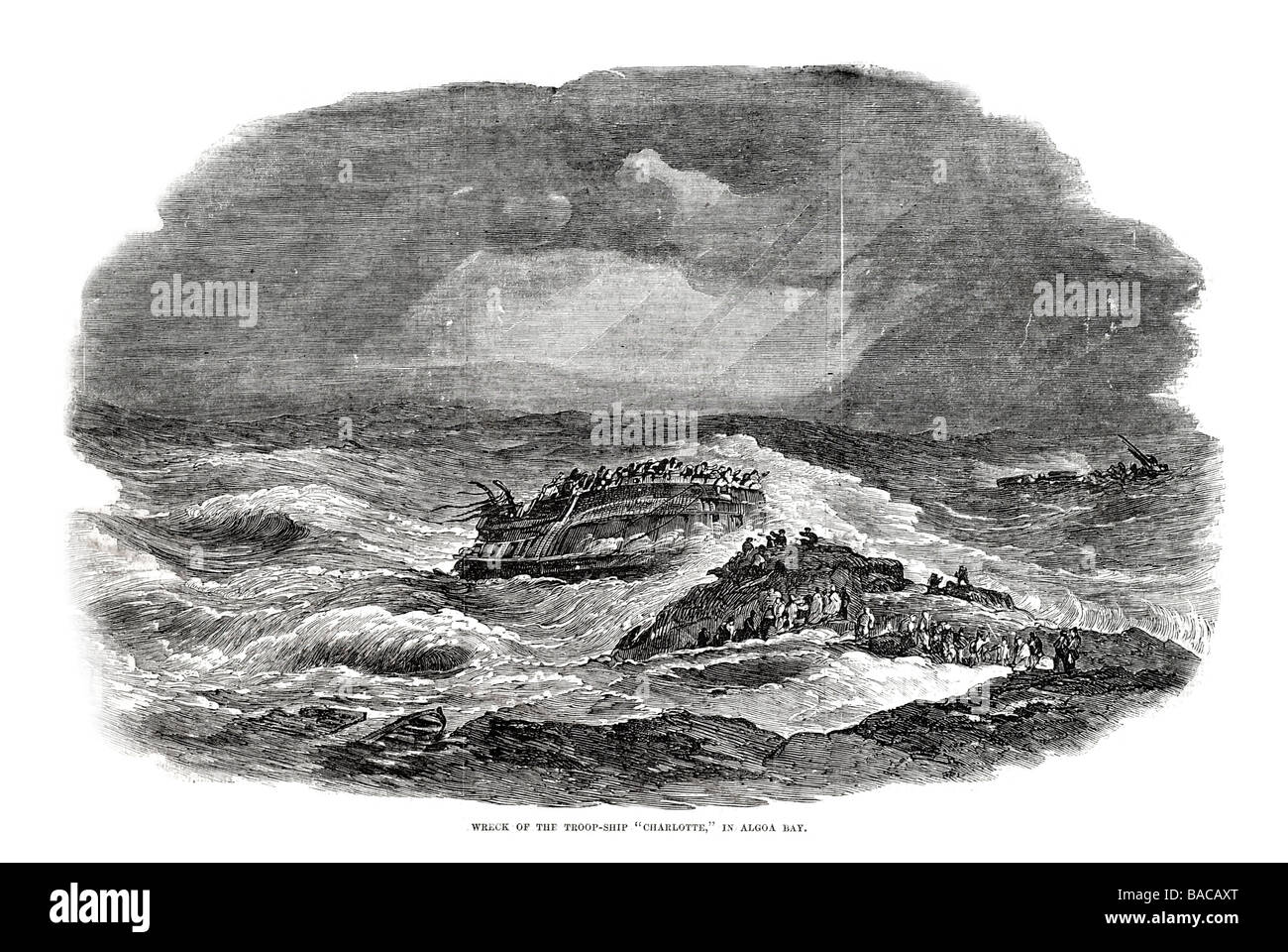 wreck of the troop ship charlotte algoa bay 1854 - Stock Image