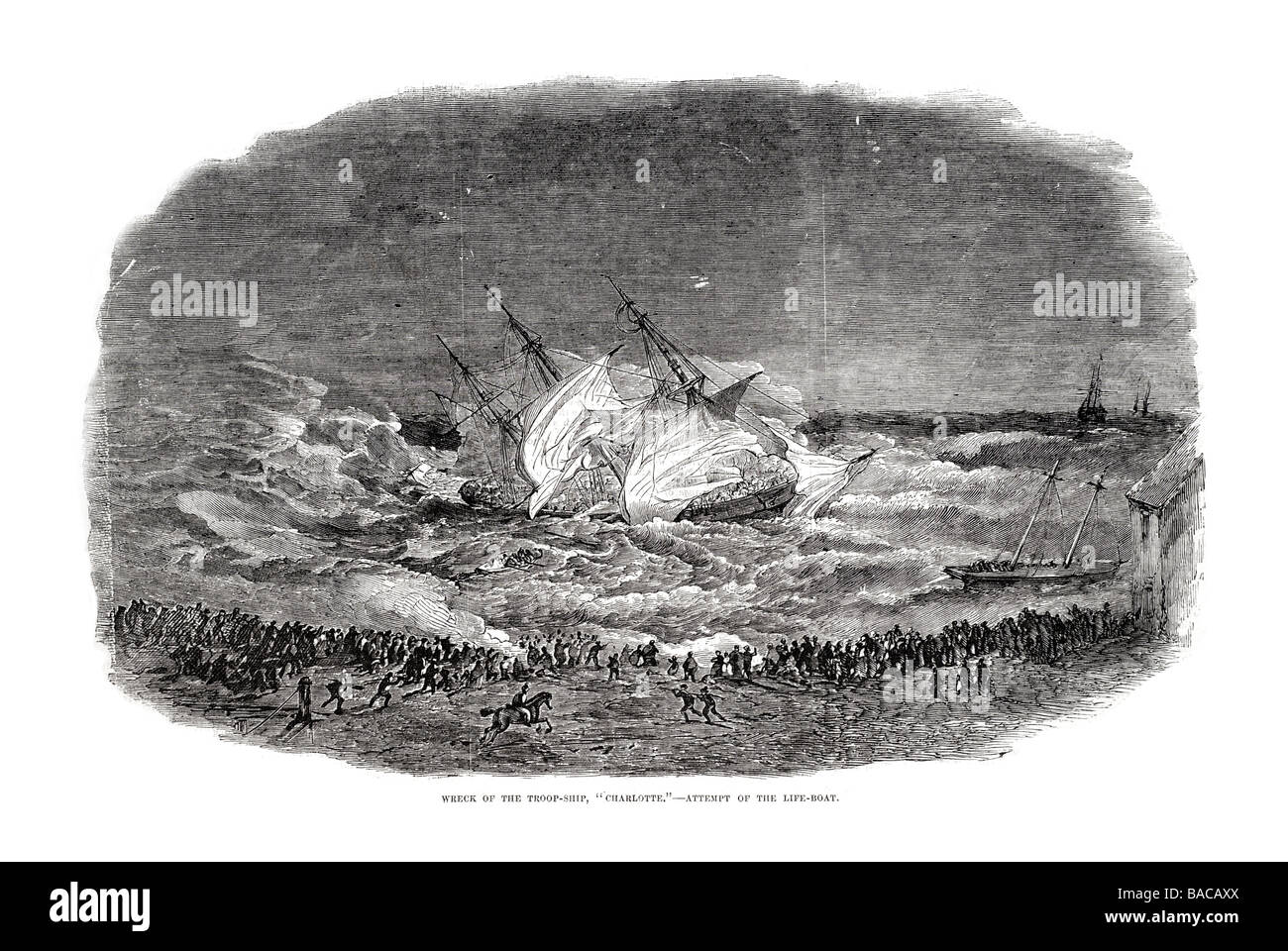 wreck of the troop ship charlotte algoa bay attemp of the life boat 1854 - Stock Image