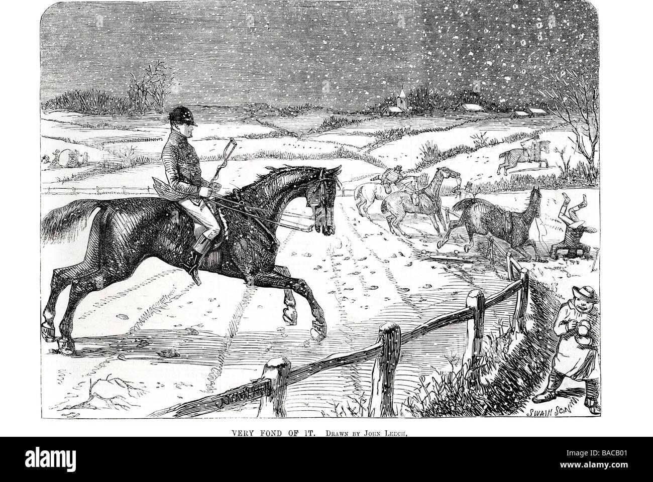 very fond of it drawn by john leech 1854 - Stock Image