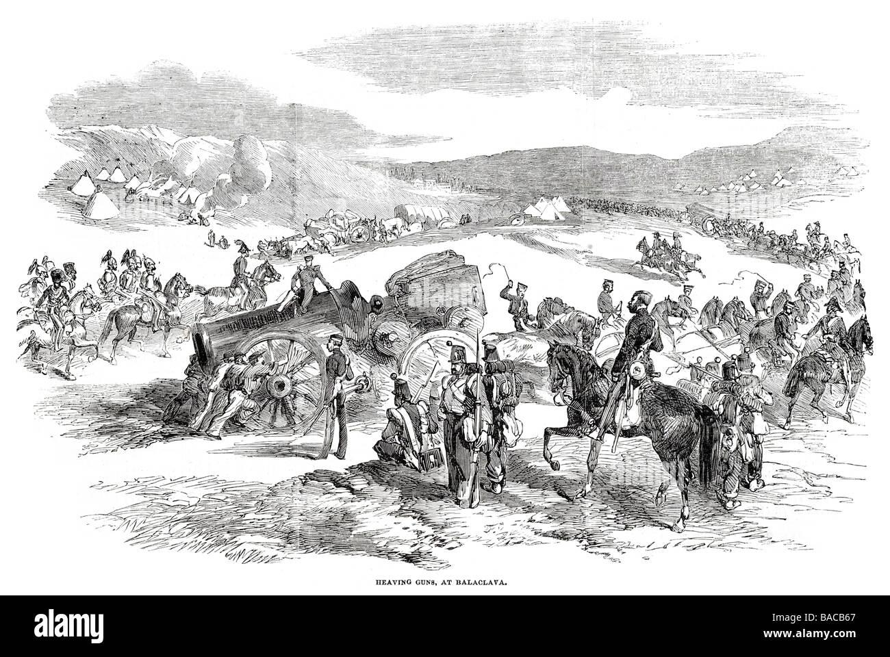 heaving guns at balaclava 1854 - Stock Image