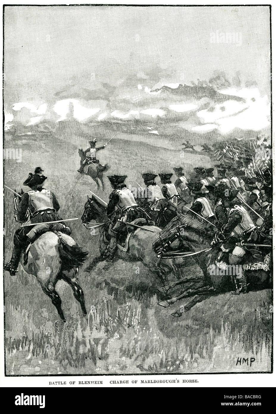 battle of blenheim charge of marlborough's horse Battle of Höchstädt 13 August 1704 major War Spanish offensive Stock Photo