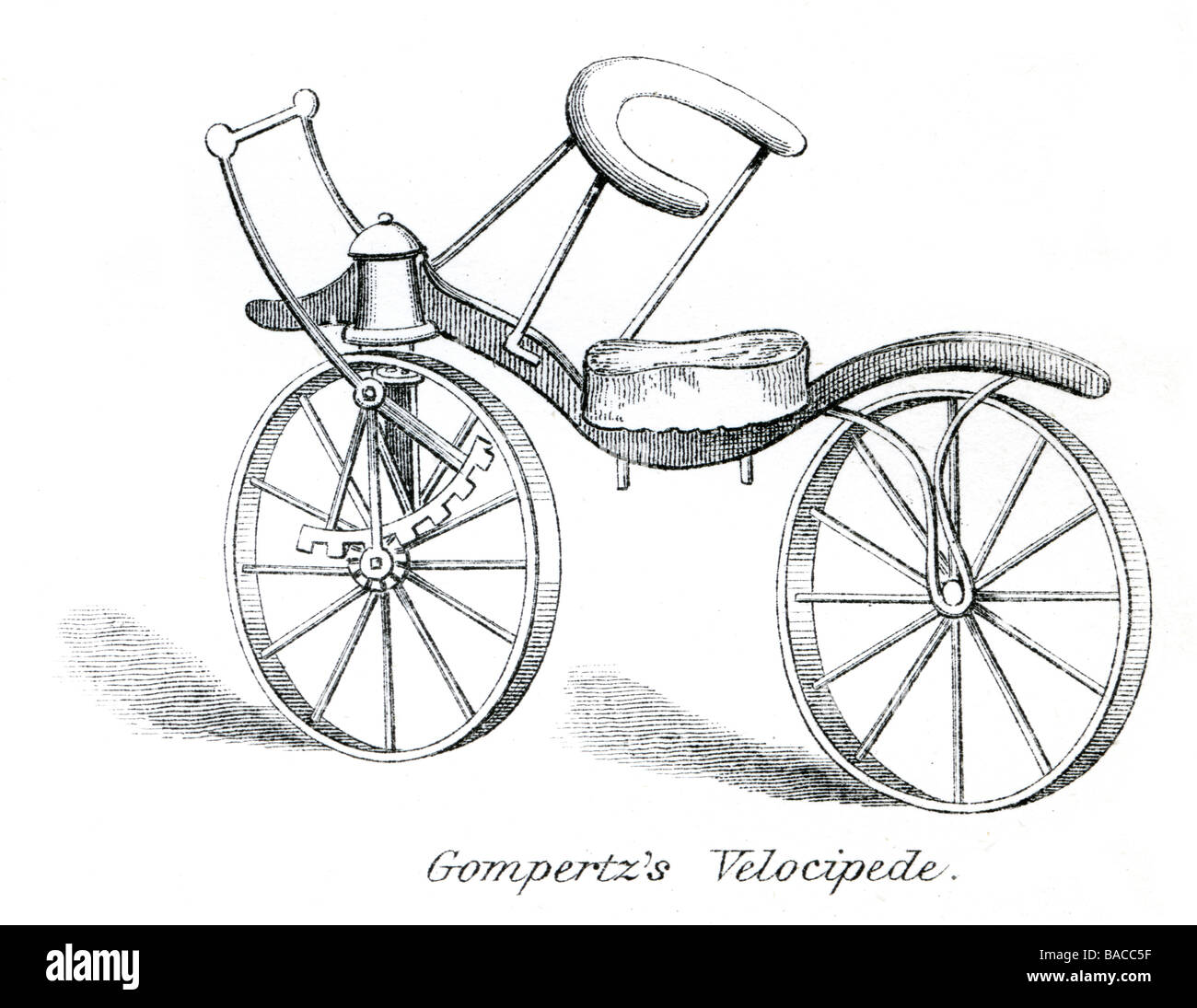 gompertz'z velocipede human-powered vehicles bike bicycle transport two wheels pedals designs - Stock Image