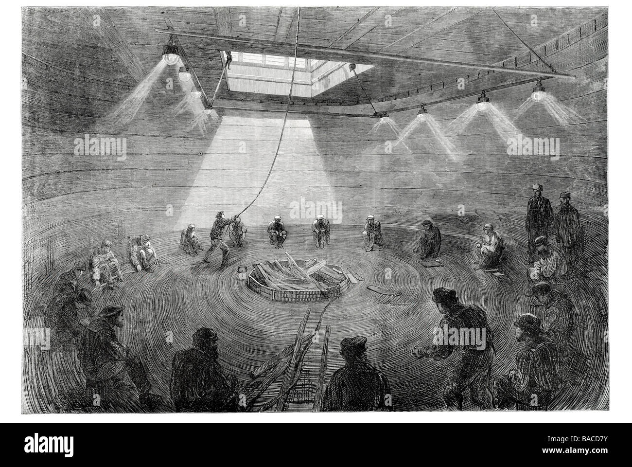coiling the atlantic telegraph cable in one of the tanks on board the great eastern Sir James Anderson 1865 - Stock Image