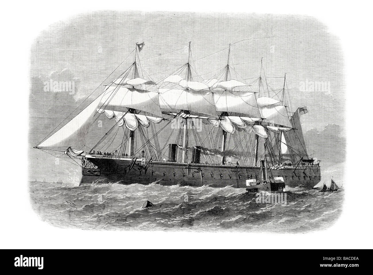 our iron clad fleet h m s minotaur built on the thames armored battleship steamer battery 1865 - Stock Image