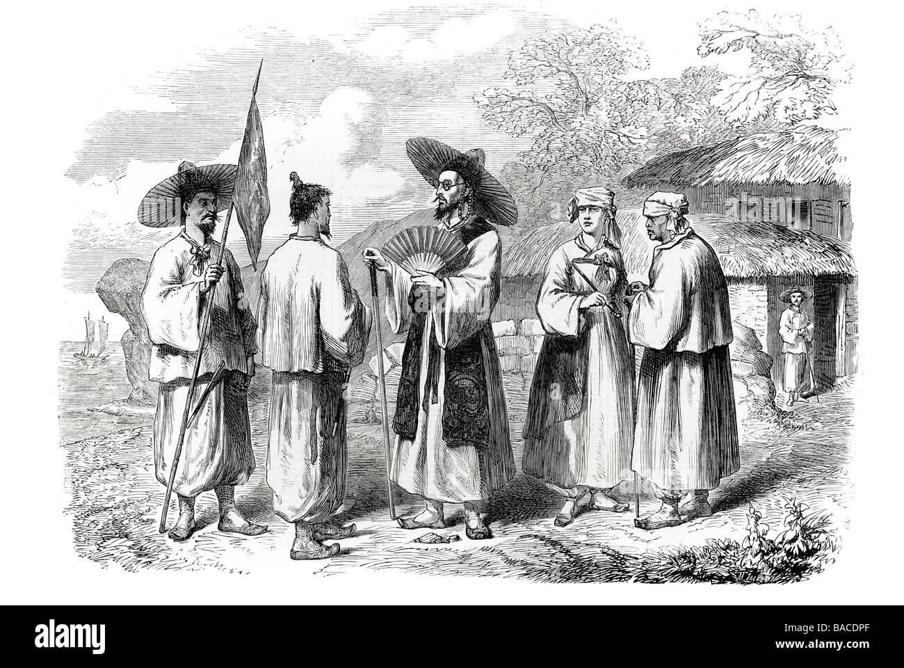 natives of korea 1865 shoe sandal straw leaves great toe exposed stockings pantaloons - Stock Image