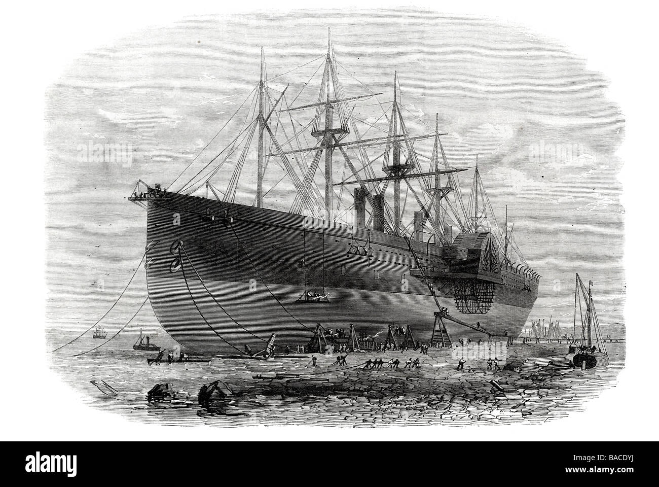 the great eastern under repairs on the cheshire shore of the mersey 1867 - Stock Image