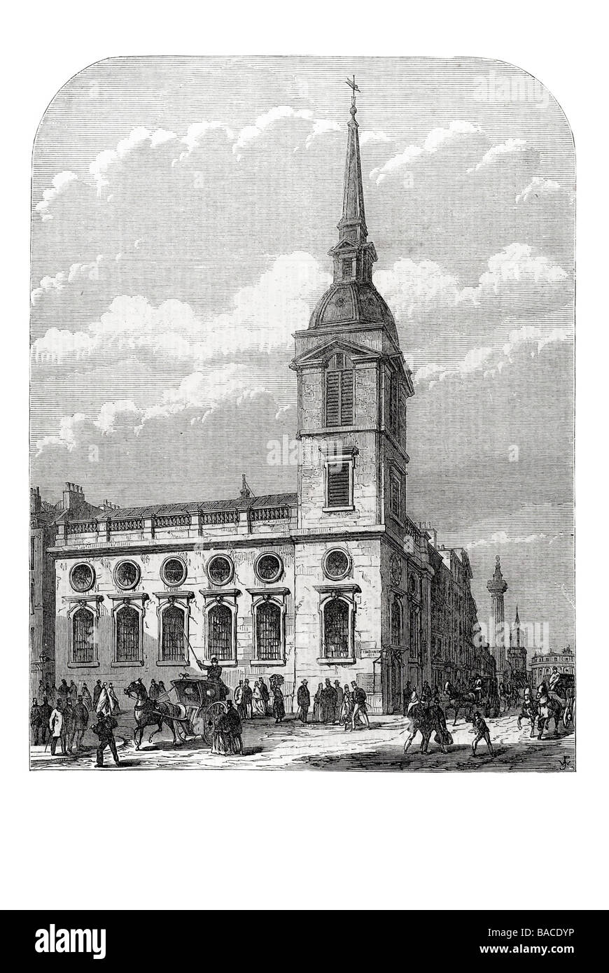 church of st benet gracechurch street about to be demolished 1867 Sir Christopher Wren - Stock Image