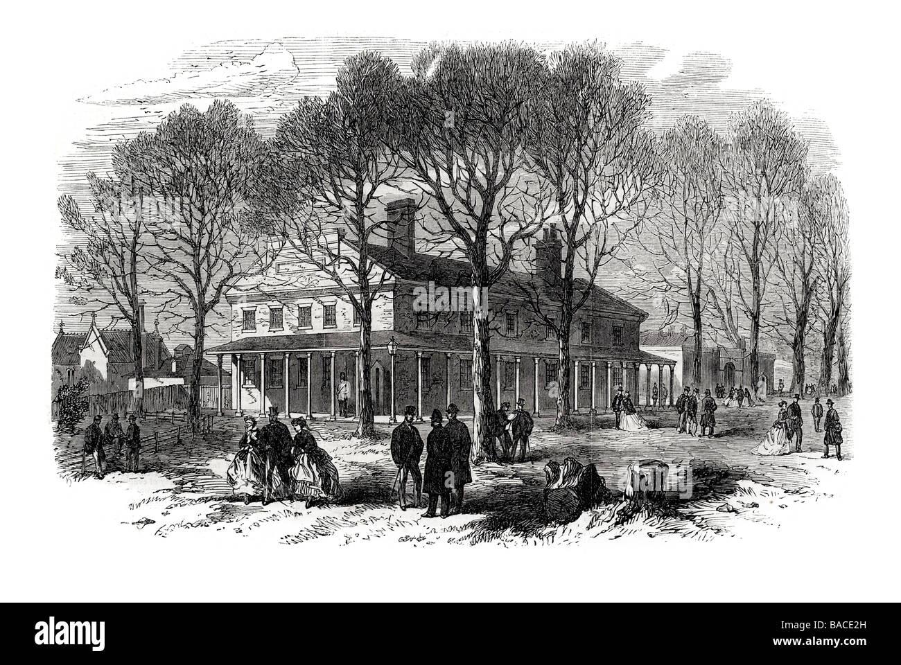 the police station magazine barrack hyde park 1867 Knightsbridge London Household Cavalry - Stock Image