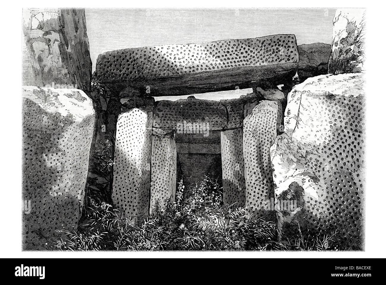 Recess in Phoenician Ruins in Malta 1868 megalithic complex globigerina limestone - Stock Image