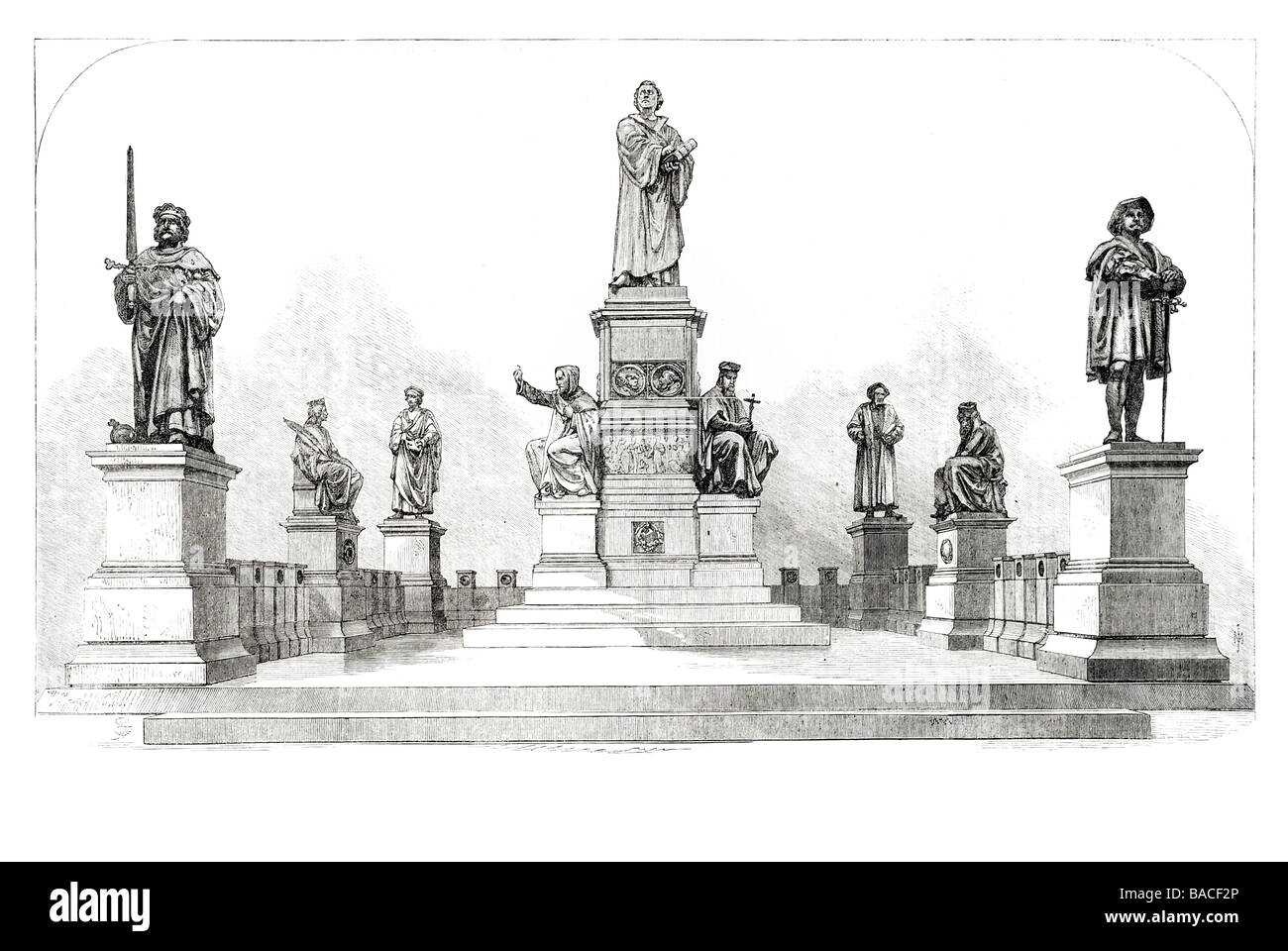the luther monument at worms germany 1868 Protestantism Christianity German monk - Stock Image