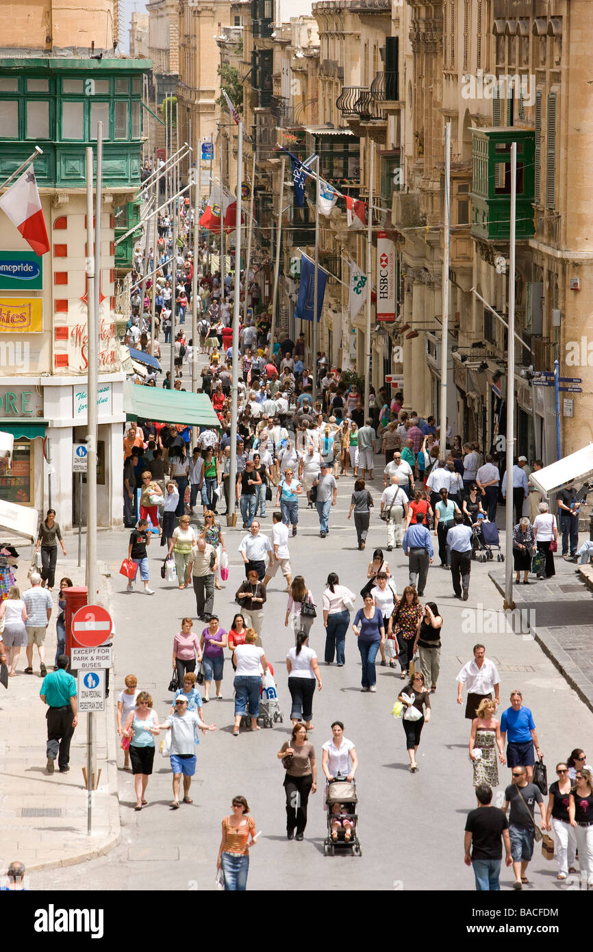 Malta, Valletta, classified as World Heritage by the UNESCO, Republic Street, main commercial and pedestrian street - Stock Image