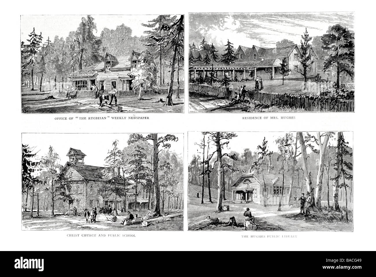 Sketches at Mr Thomas Hughes s settlement New Rugby Tennessee U S A Stock Photo