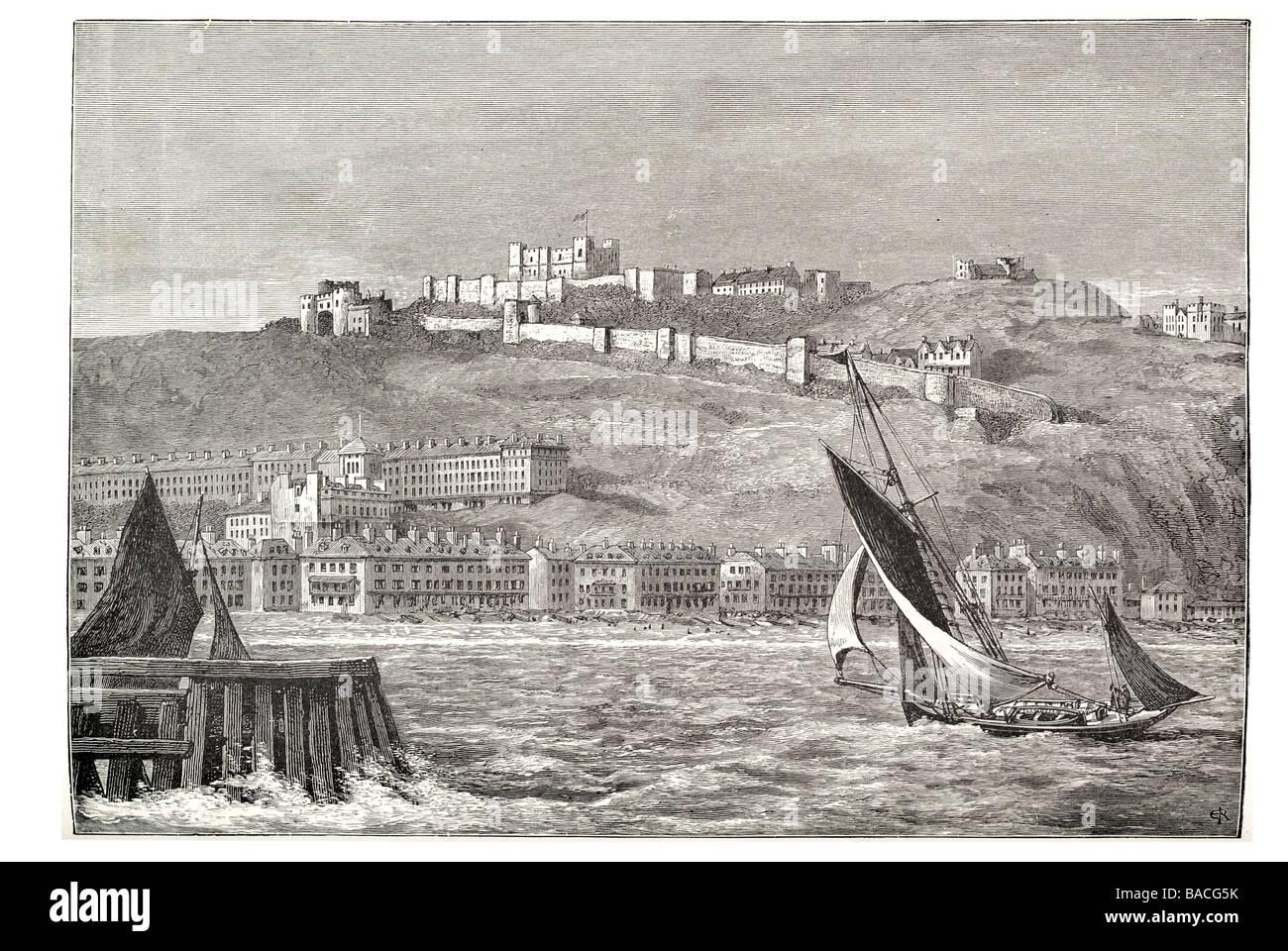 dover castle from the sea Kent gun platform heavy artillery medieval Stock Photo