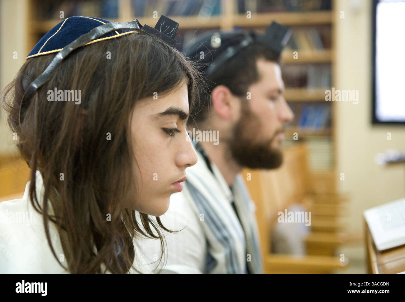 Bar Mitzvah ceremony in a synagogue - Stock Image