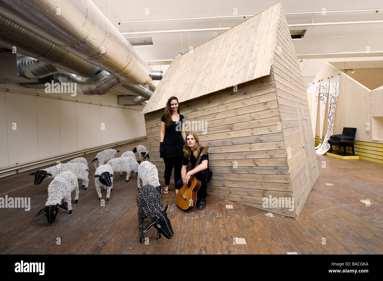Norway, Rogaland County, Sandnes, A World of Folk (Stavanger 2008), Design Exhibition, the leaning hut by Laurens - Stock Image