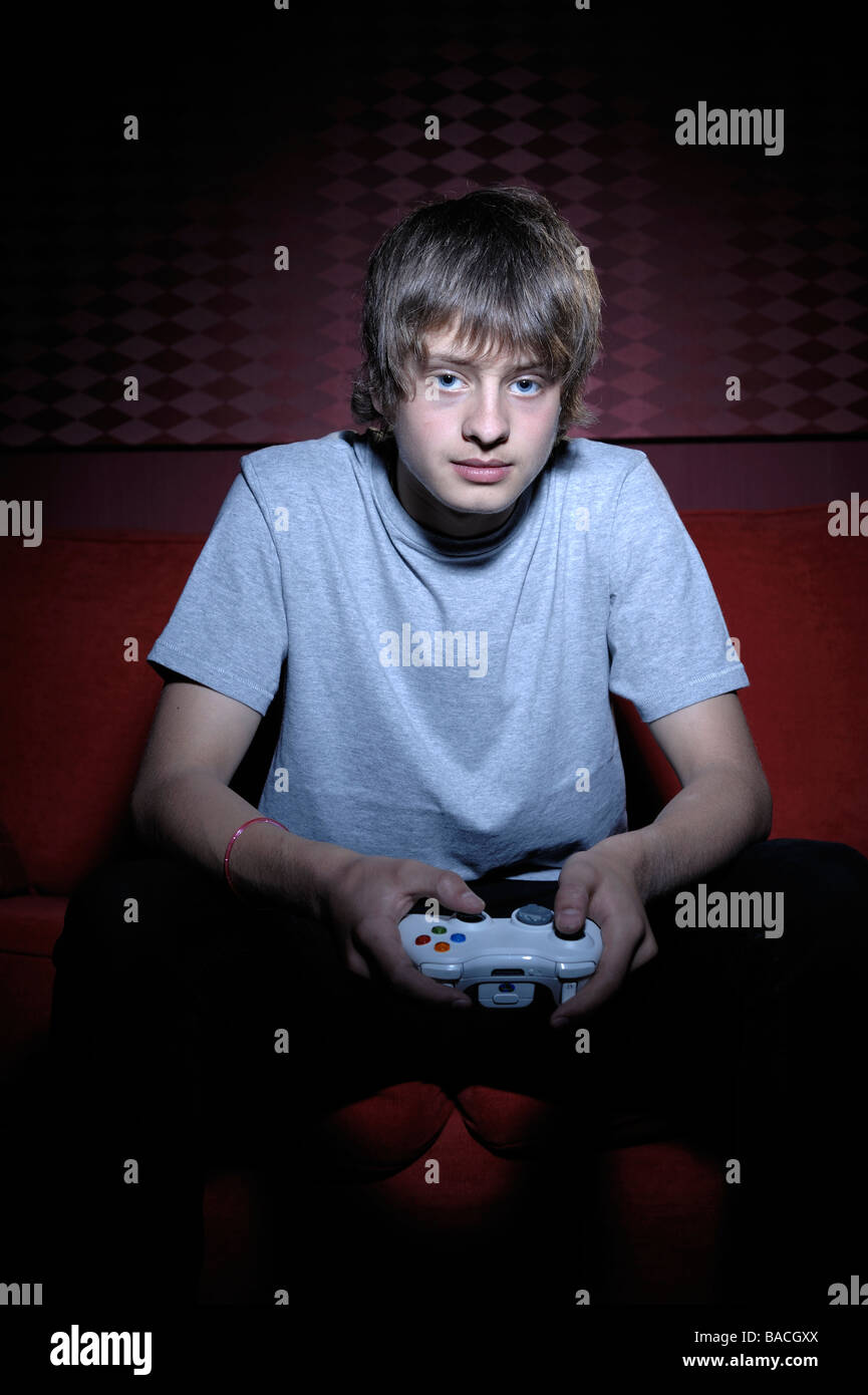 Boy with computer games controller - Stock Image
