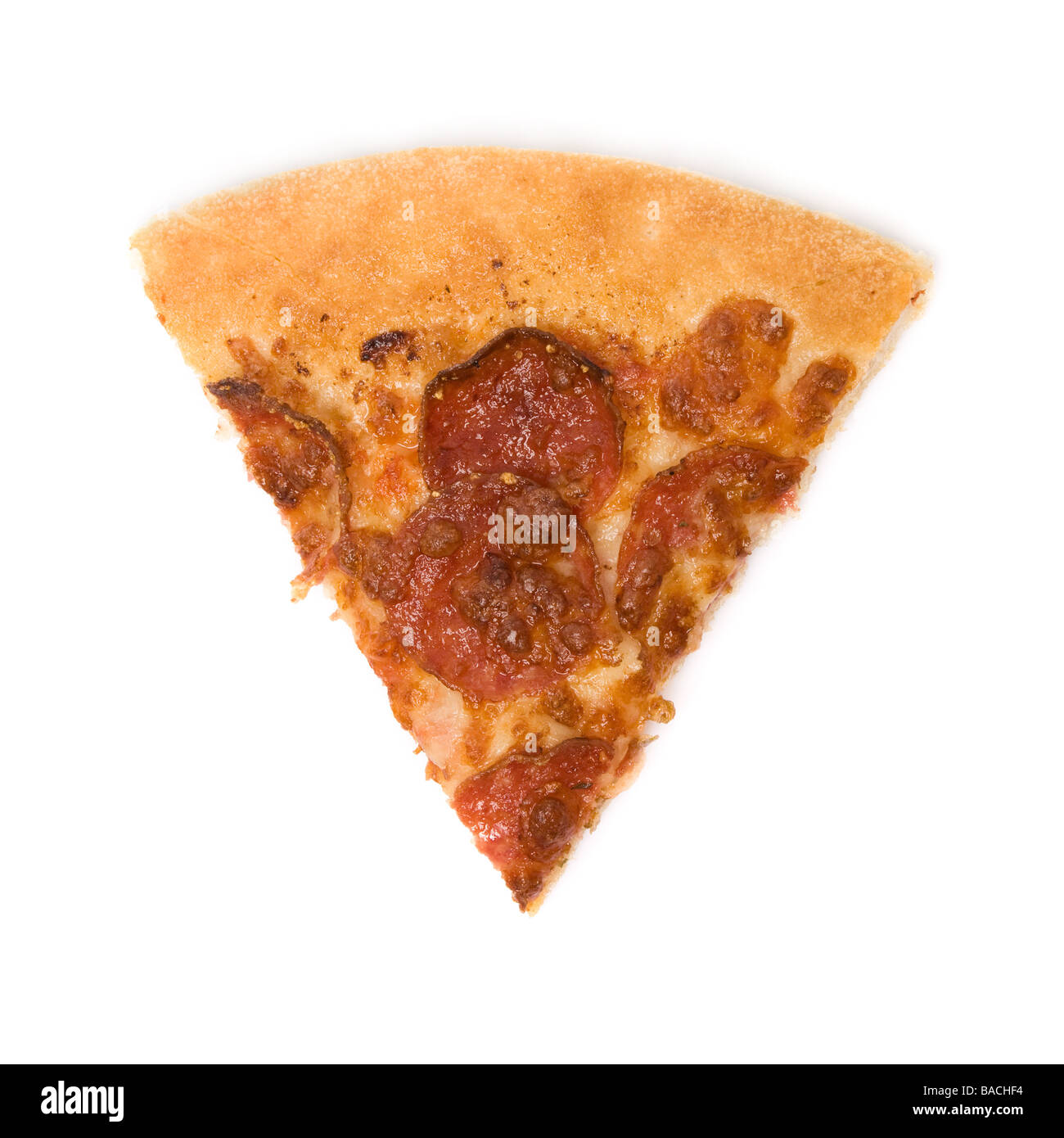 pepperoni pizza slice isolated on white background - Stock Image